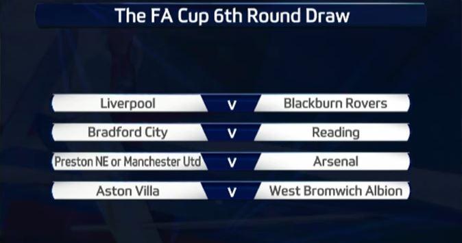 FA cup quarter finals draw fixture